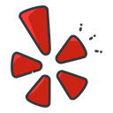Yelp, Communication, Social, media, network Black icon