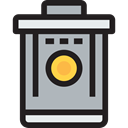 Can, Basket, Bin, Trash, Garbage, miscellaneous, interface, Tools And Utensils Silver icon