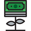 Money, investment, Business, Currency, Business And Finance, Bank, plant, growth Black icon