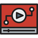 Multimedia, Play button, Multimedia Option, interface, video player, movie, Music And Multimedia Firebrick icon