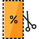 Discount, Commerce And Shopping, voucher, Sales, Money, commerce, Currency, Coupon, scissors SandyBrown icon