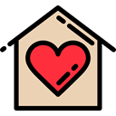 love, house, buildings, Heart, romantic, Home, real estate, residence Wheat icon