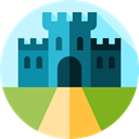 Monuments, buildings, Home, Castle, medieval, Construction, real estate, property, residential PaleTurquoise icon