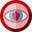 Eye, Apple, Observation, vision, education, optical Firebrick icon