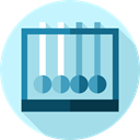 physics, education, Newtons Cradle, Energy, Momentum LightBlue icon
