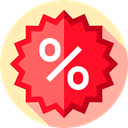 percentage, Discount, Badges, Shapes And Symbols, commerce, Badge, signs, Design, star, sticker Crimson icon