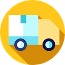 transportation, Automobile, Shipping And Delivery, Delivery, transport, Cargo Truck, truck, vehicle, Delivery Truck Gold icon