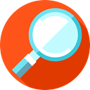 magnifying glass, search, detective, Loupe, zoom, Tools And Utensils, miscellaneous OrangeRed icon