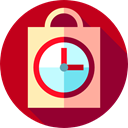 shopping bag, history, Clock, paper bag, order, Commerce And Shopping Firebrick icon