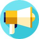 megaphone, Commerce And Shopping, loudspeaker, shout, protest, Tools And Utensils, Promotion, announcer SkyBlue icon