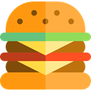hamburger, Burger, sandwich, junk food, Fast food, food, Food And Restaurant SandyBrown icon