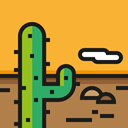 landscape, sun, nature, Desert Icon