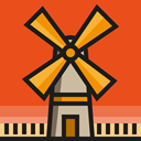 buildings, Ecological, mill, Windmill, Architecture And City, nature, ecology Chocolate icon
