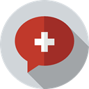 help, Healthcare And Medical, hospital, Conversation, speech bubble LightGray icon