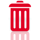 recycle, Mirror, Bin, Full Crimson icon