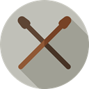 Drumsticks, Drum, Percussion Instrument, Orchestra, Music And Multimedia, music, musical instrument Silver icon