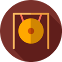 Music Instruments, oriental, Gong, Orchestra, Music And Multimedia, music, Percussion Instrument Maroon icon