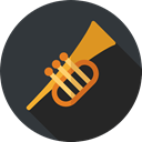 musical instrument, Wind Instrument, Orchestra, Trumpet, jazz, music, Music And Multimedia DarkSlateGray icon