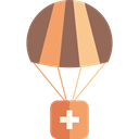 Healthcare And Medical, Charity, Parachute, donation, help, Solidarity, first aid kit Black icon