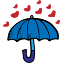 romantic, love, Valentines Day, Umbrella, lovely, Romanticism, Hearts, Tools And Utensils Black icon