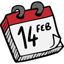 february, Romanticism, lovely, Calendar, romantic, Valentines Day, date, love WhiteSmoke icon