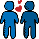 Hearts, gay, romantic, Homosexual, people, valentines, Valentines Day, love, men Black icon
