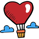 Valentines Day, hot air balloon, transportation, romantic, love, Heart, transport Firebrick icon