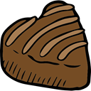 lovely, romantic, food, Heart, Valentines Day, love, Romanticism, Burning, Dessert, Heart Shaped, Chocolate SaddleBrown icon