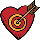 love, Cupid, Heart Shaped, Target, Romanticism, lovely, romantic, Valentines Day Firebrick icon