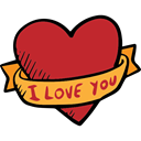 lovely, Ribbon, Valentines Day, Heart, romantic, love, Romanticism Firebrick icon
