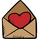 envelope, Message, Love Letter, Romanticism, Heart, Valentines Day, lovely, love, romantic DarkKhaki icon