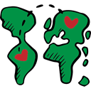 Long Distance, Hearts, Valentines Day, love, Geography, Maps And Flags, Continents ForestGreen icon