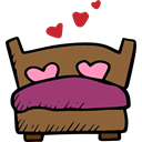 Bed, Marriage, Hearts, romantic, Heart, valentines, Valentines Day Sienna icon