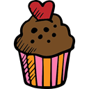 Bakery, food, cupcake, Dessert, sweet, Valentines Day Black icon