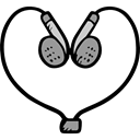 Headphones, technology, earphones, Heart Shape, Valentines Day, sound, Audio Black icon