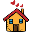 Valentines Day, romantic, Home, house, Hearts, buildings, real estate Black icon