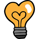 Valentines Day, Light bulb, electricity, Heart Shaped, illumination SandyBrown icon
