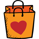 Shopper, Shopping Store, online shop, commerce, shopping bag, online store, Valentines Day, Supermarket DarkOrange icon