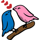 Sparrow, birds, Lovers, love, Animals, bird, loving, Valentines Day, Heart Black icon