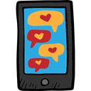 smartphones, technology, cellphone, Valentines Day, Heart, smartphone, Message, Chat, mobile phone Black icon