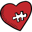romantic, Heart, romance, Valentines Day, Puzzle Firebrick icon