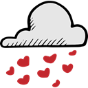 Valentines Day, weather, Rain, Cloud, Hearts Icon