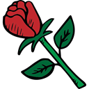 gardening, Botanical, Valentines Day, rose, roses, romantic, love, romance, valentines, nature Black icon