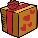 Hearts, gift, birthday, surprise, Christmas Presents, Valentines Day, present DarkGoldenrod icon