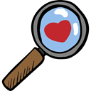 Heart, search, romantic, Valentines Day, love, Tools And Utensils, magnifying glass, Loupe Black icon
