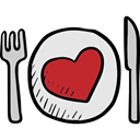Valentines Day, Dish, Cutlery, Plate, Restaurant, Tools And Utensils, Fork, Knife Black icon