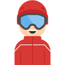 user, Sports And Competition, Social, profile, Skiing, Avatar Crimson icon