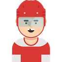 Hockey Player, profile, Avatar, user, Social, Sports And Competition Crimson icon