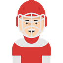 Sports And Competition, profile, Avatar, Hockey Player, user, Social Crimson icon