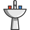 Sink, hygiene, Furniture And Household, wash, bathroom, washing, water Black icon